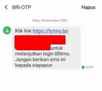pesan OTP yang masuk via SMS