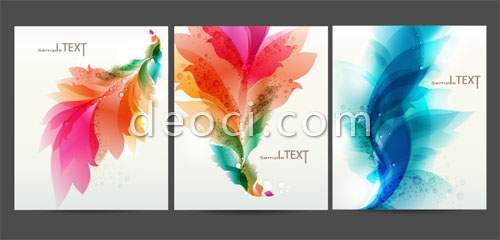 3 files cover the background design template material colorful flowers adobe eps files for free