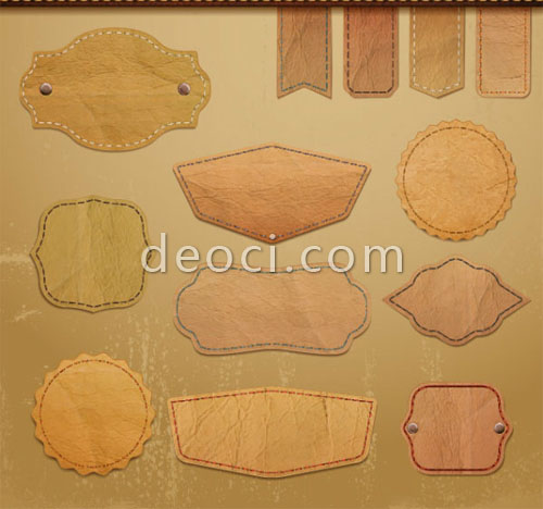 Free Downloads Vector Retro Leather Lables Tags Design Templates EPS File