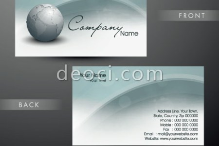 Vector Business Card Design Templates Archives   DEOCI com   DEOCI     Light blue Earth Business card background design template illustrator EPS  file free download
