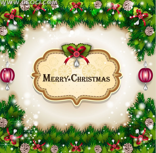 2014 Merry Christmas Greeting Card Vector Template