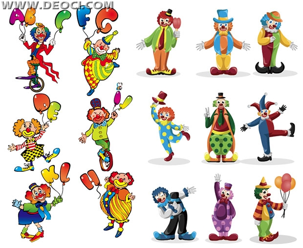 Character Design Vector Free Download : Clown cartoon characters vector ai downloaddeoci