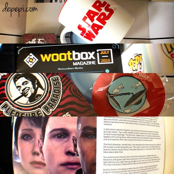 wootbox, wootbox unboxing, wootbox July, wootbox July 2018, Star Wars, Futurama, bender, halo, back to the future, unboxing, depepi, depepi.com, Detroit becomes human