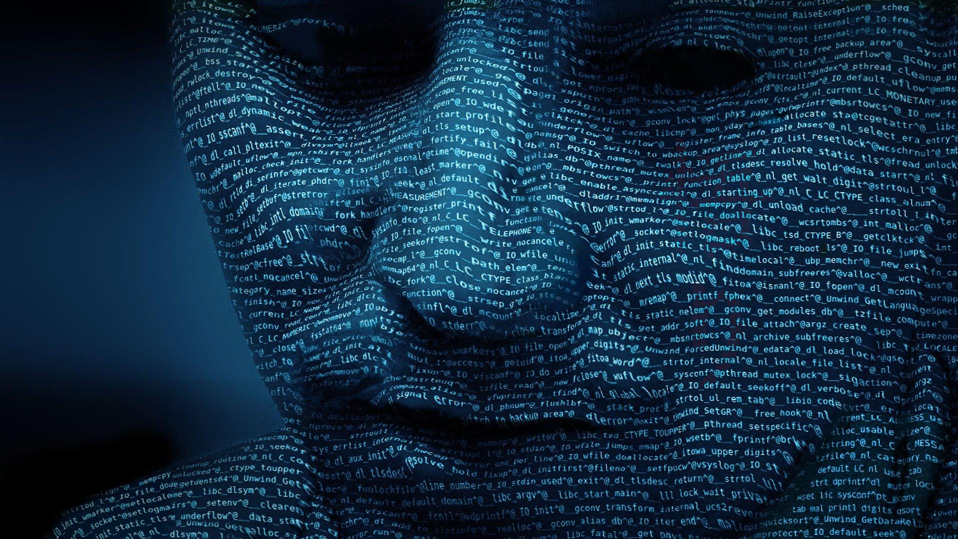 visage humain couverts de lignes de code en lumière