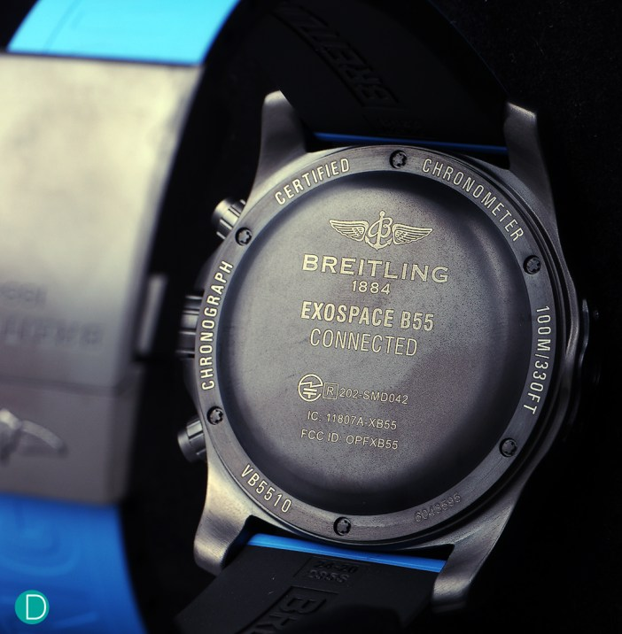 The caseback of the Breitling Exospace B55, showing the engravings.