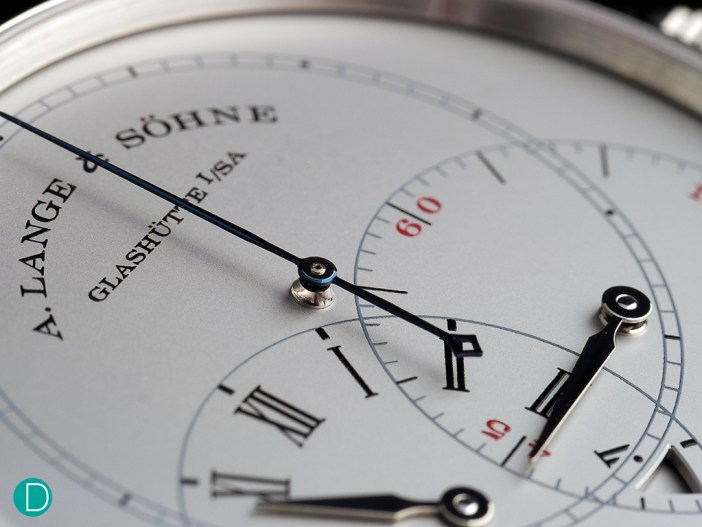 The dial of the A. Lange & Söhne Richard Lange Jumping Seconds. Some comment that the dial looks plain. But we think this is the only way to present a technical watch, with an instrument like dial.