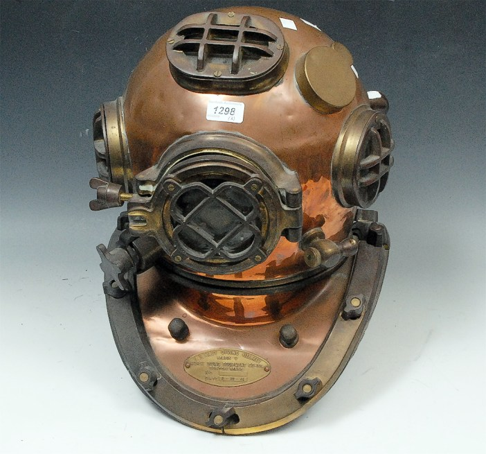 From Bramfords Auction house, sold on Thursday 19th March 2009 - Antiques and Fine Art Sale - March 2009 - The Derby Lot 1298 - A U.S. Navy copper and brass diving helmet. HAMMER PRICE £620.00 A U.S. Navy copper and brass diving helmet, Morse Diving Equipment Co, Boston Mass, dated 8 - 29 - 41, 46cm high; weight belt and boots.