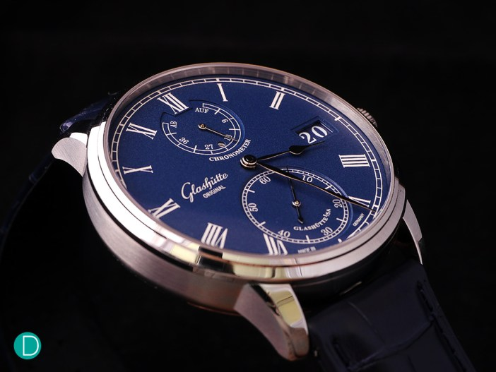 The case of the GO Senator Chronometer is teutonic and strong in character.
