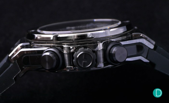 The side profile shows the Big Bang construction with the titanium screws holding the three piece construction together.