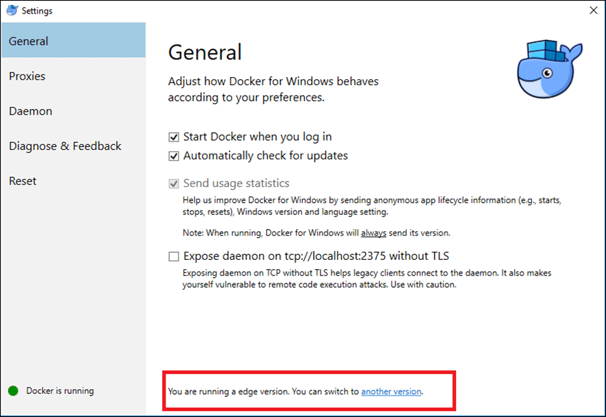 How to Change Docker For Windows Version (Edge To Stable) - Deploy