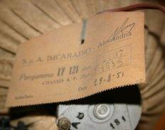 Imcaradio Pangamma IF121 - etichetta con datazione
