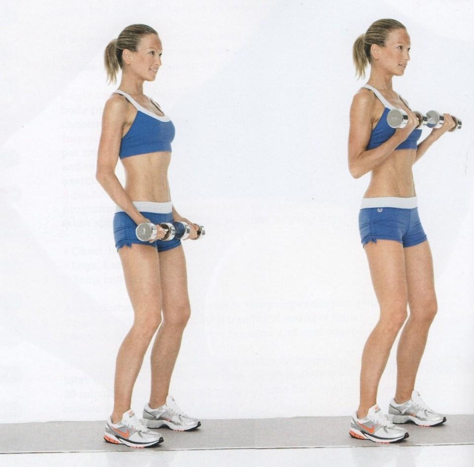 curl de bíceps para ejercitar los brazos