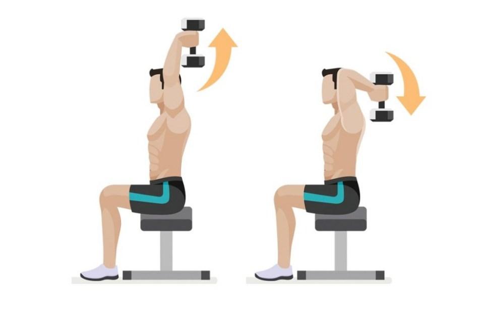 Extensiones hacia atrás con mancuerna para trabajar el dorsal
