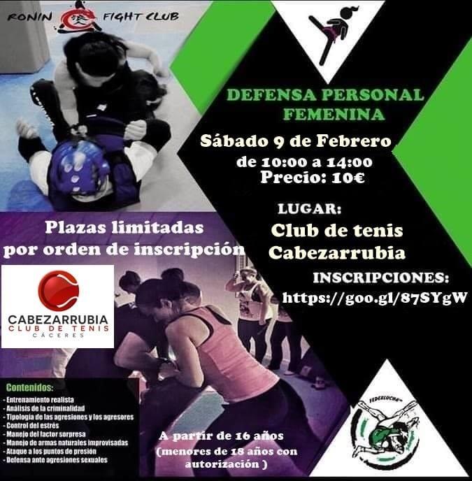 Curso Defensa Personal Femenina en el Club de tenis Cabezarrubia de Cáceres