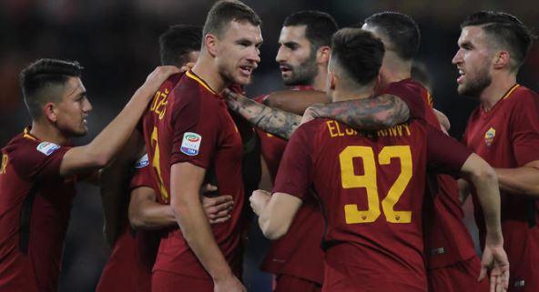 La Roma celebrando el pase a semifinales de la Champions League 2017 2018