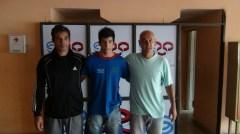 Adrián Báez, Ricardo Báez y Dante Pigerl, en la despedida del luchador misionero que ahora se perfeccionará en el CeNARD (Foto Deportes Misiones)