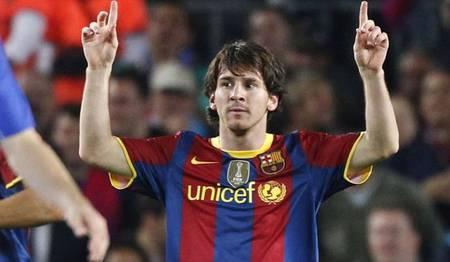 Messi celebra su gol al Copenhague en el partido de ida