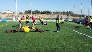 Observando un entrenamiento diario de los jugadores del CF Reus Deportiu