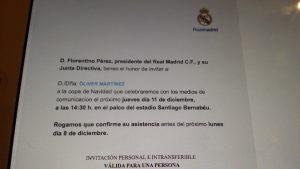Invitado por Florentino Pérez a la comida con los medios de comunicación.El fruto de varios años trabajando en los medios ;-)