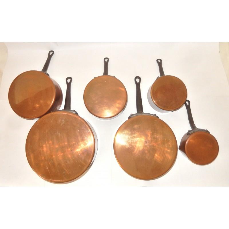 serie de 6 casseroles anciennes en