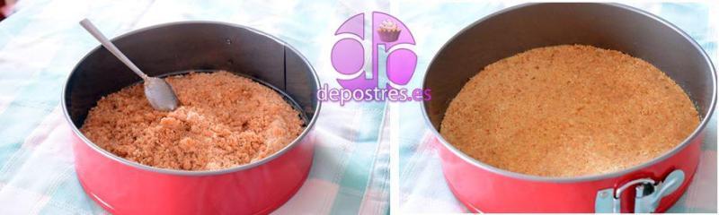preparación de la base de galletas y la base de galletas lista