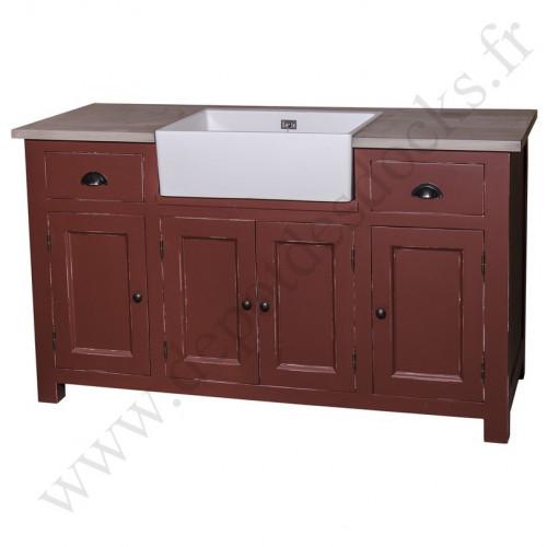 meuble de cuisine avec evier timbre 155x65x90cm
