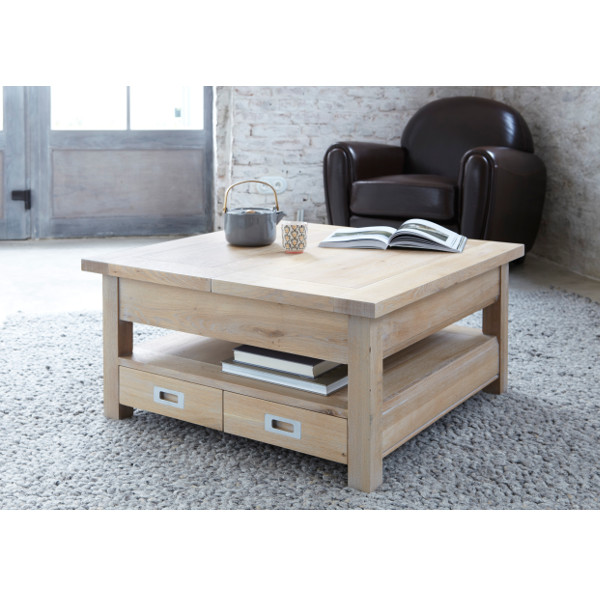 Table Basse Carre Extensible Contemporaine Chne Massif 4