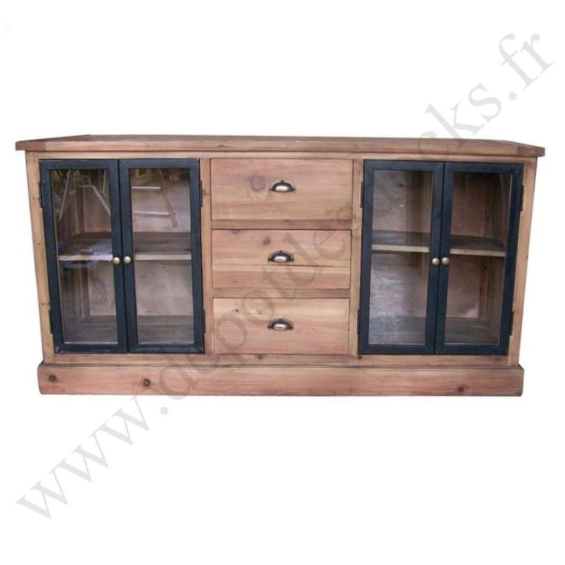 buffet bas vintage industriel metal et vieux bois 160x50x81 cm