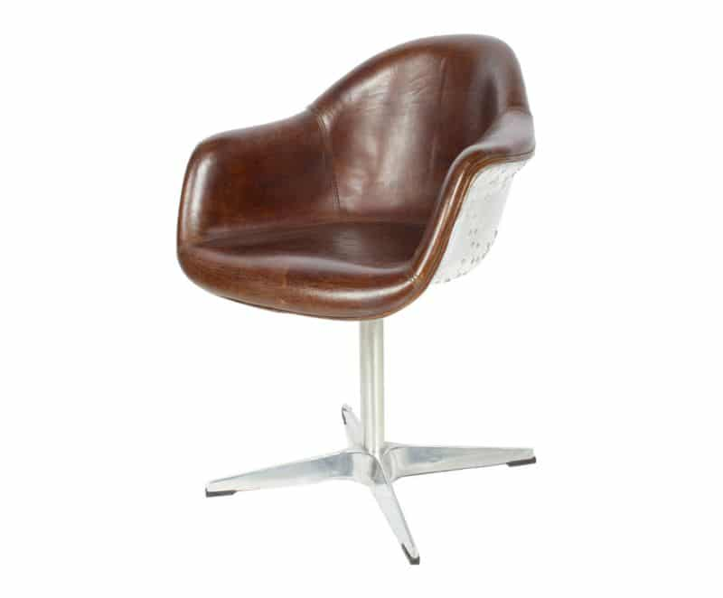 fauteuil de bureau vintage en cuir pleine fleur aviateur ii