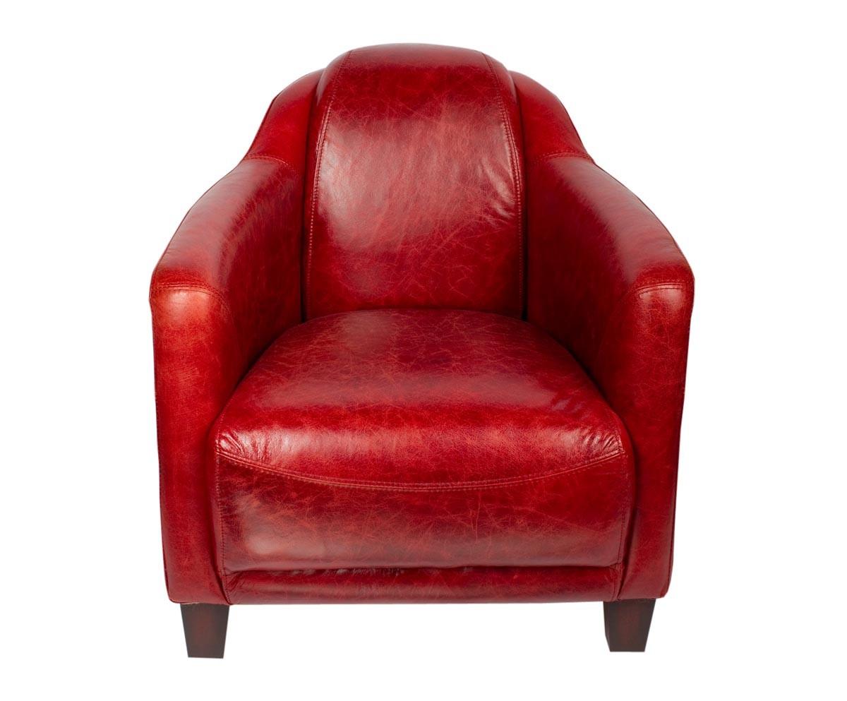 fauteuil vintage oxford en cuir rouge