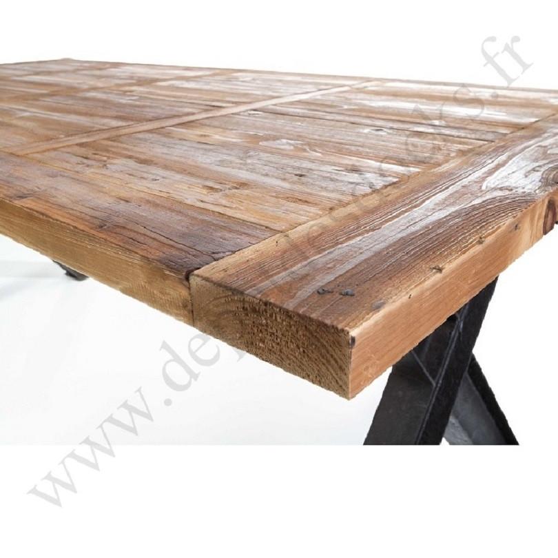 plateau unique en vieux bois 250x100 cm