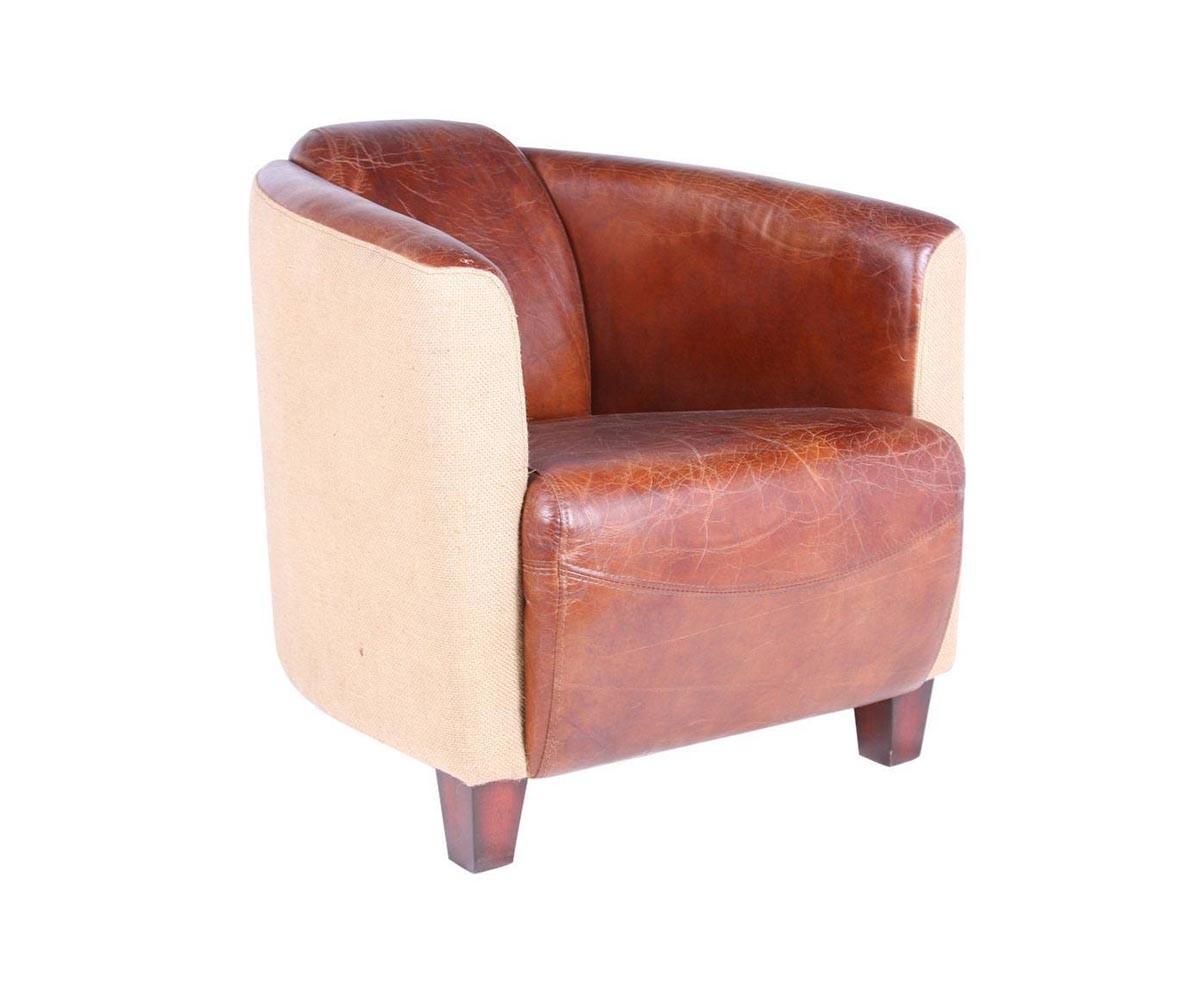fauteuil cabriolet en cuir vieilli et toile de jute
