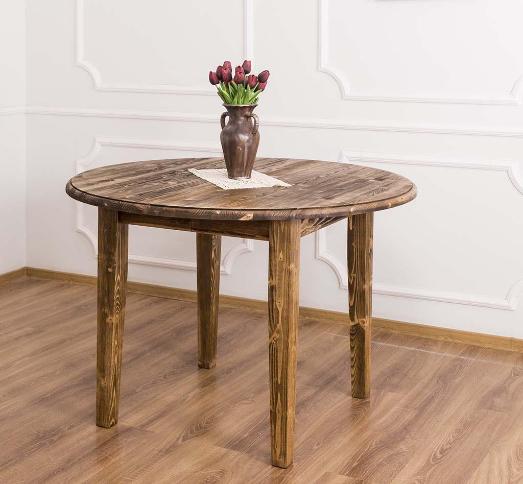 table ronde en bois massif extensible romane 116 198x116x78 cm