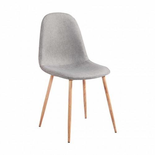 vanka chaise scandinave tissu gris pieds metal imitation bois naturel