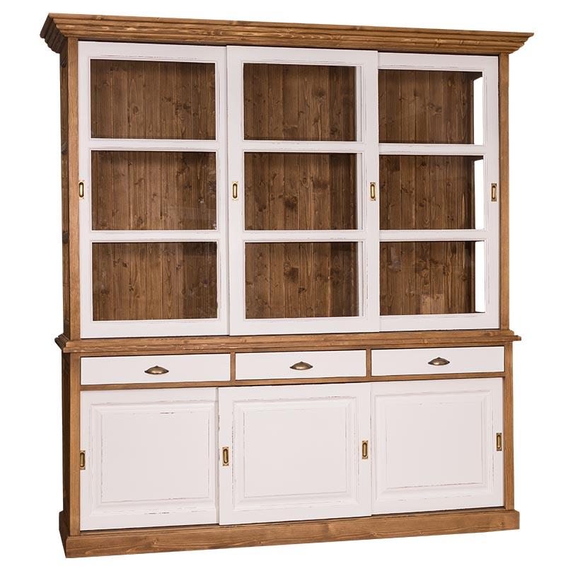 buffet vaisselier en bois massif 6 portes et 3 tiroirs 206x53x219cm