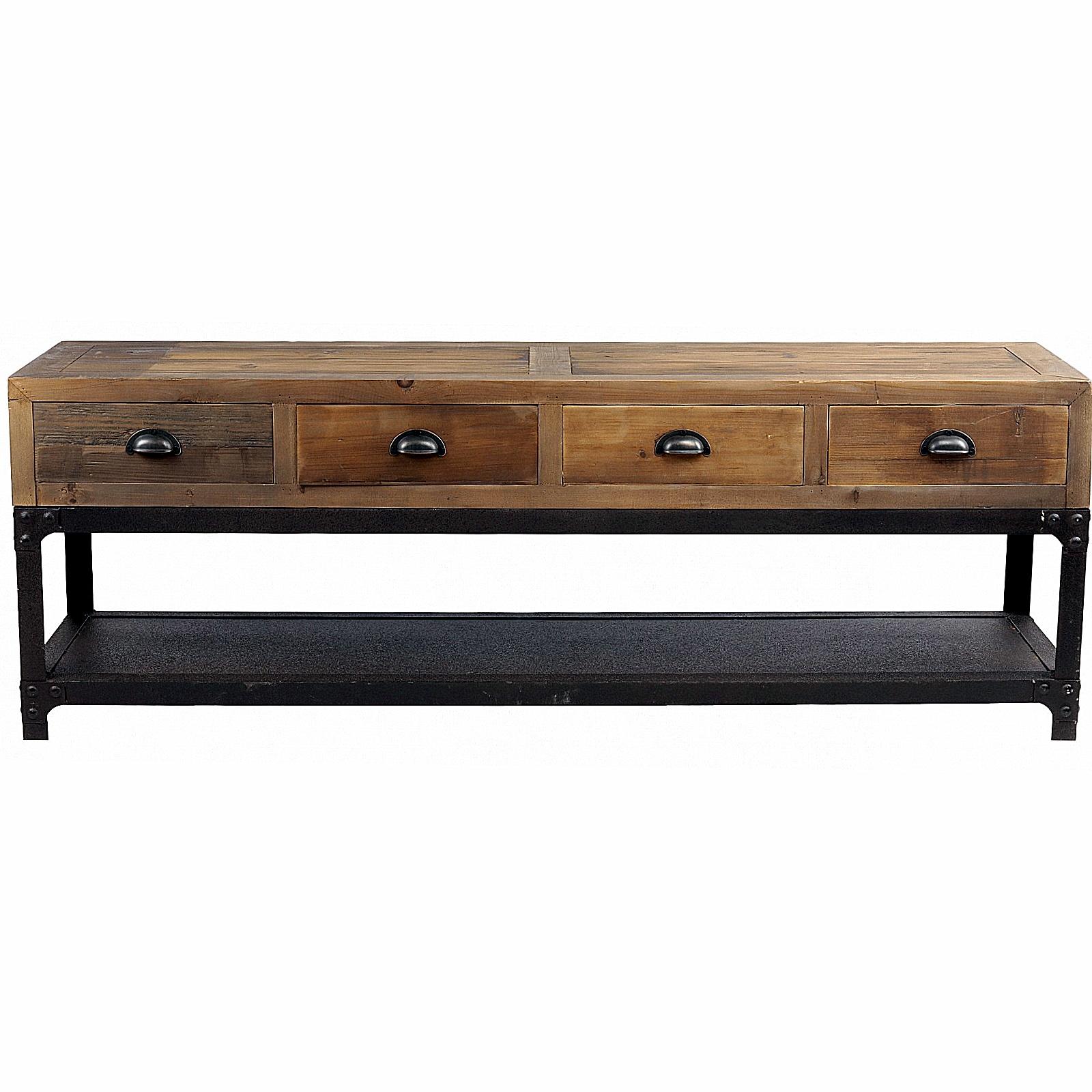 meuble tv vintage industriel metal vieux bois ouvrant a 4 tiroirs
