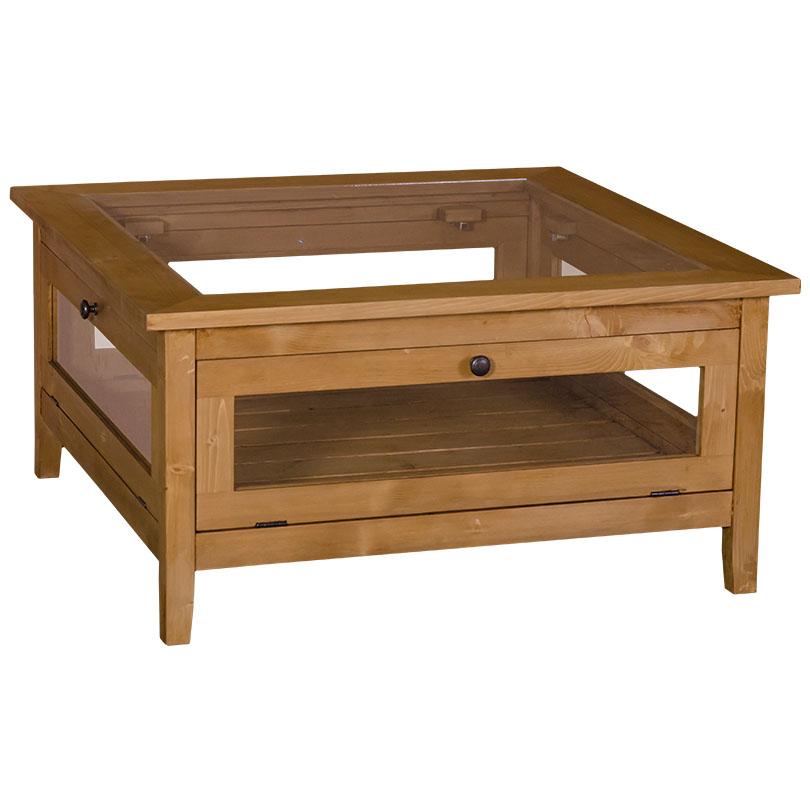 table basse en pin massif plateau en verre 90x90x45 cm