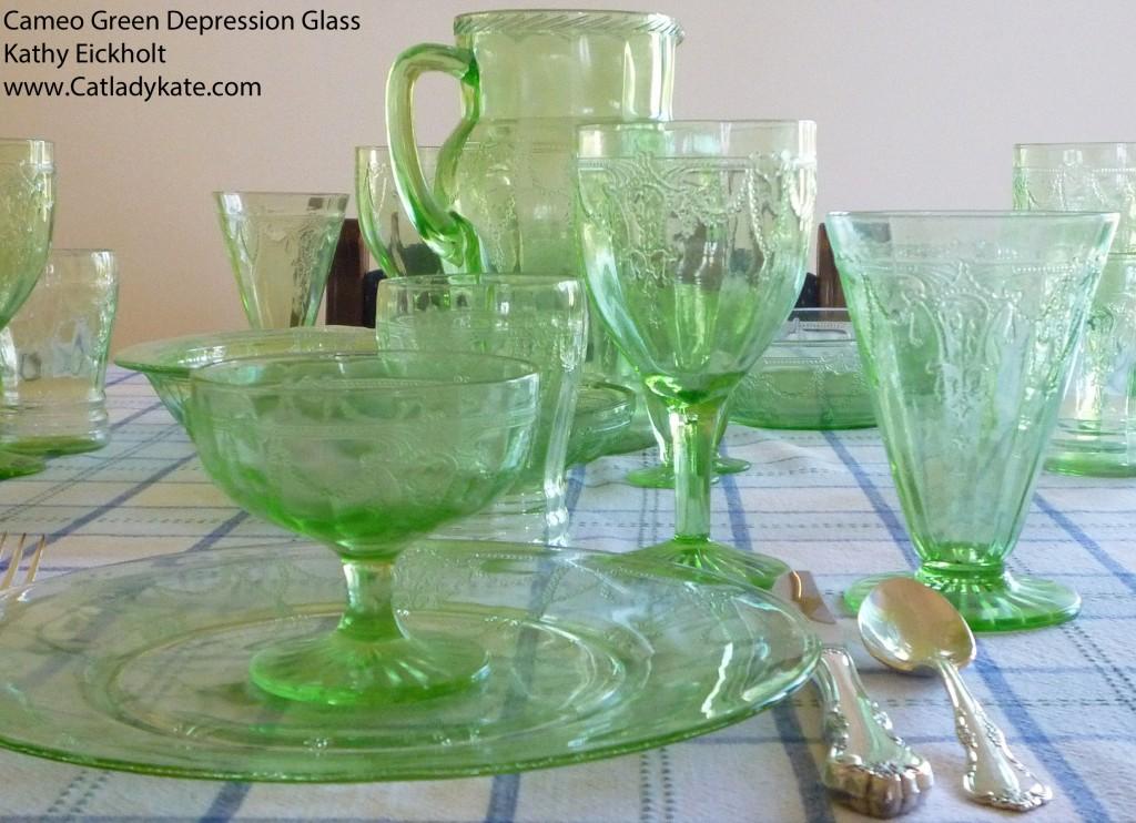 Ballerina In Green Cameo Green Depression Glass Tablescape
