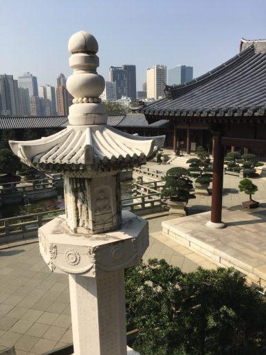 Jardín exterior desde el Pabellón de los Reyes Celestiales