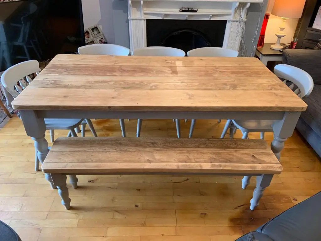 Reclaimed wood dining table with grey legs 4 chairs and bench seat