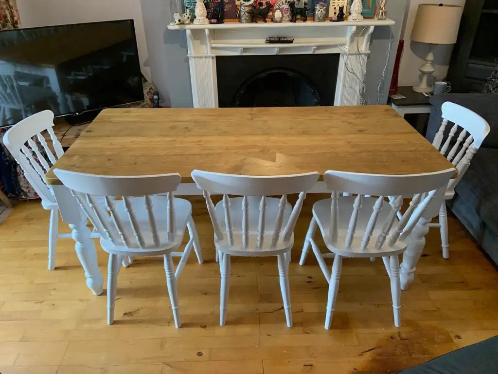 reclaimed wood table in white with antique pine top