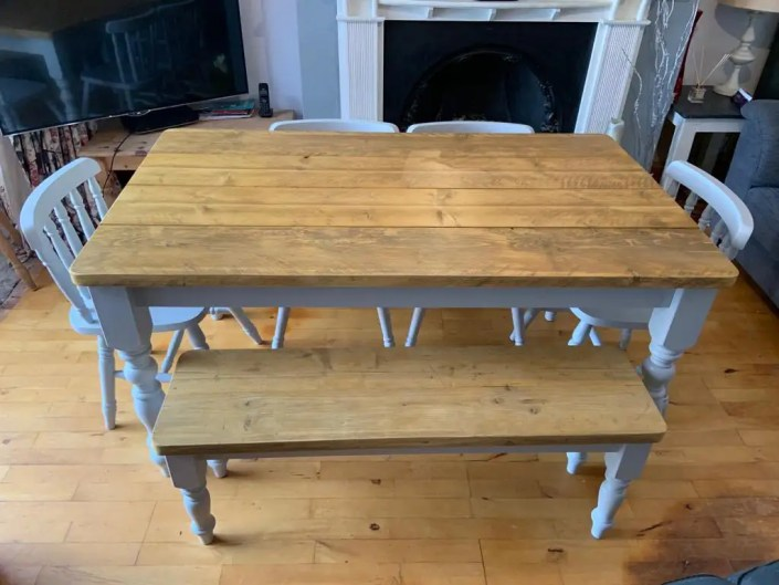 Blue dining table with reclaimed wood table top antique