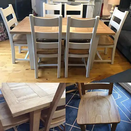 Refurbished dining room table and chairs with white painted legs and 6 chairs