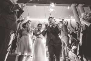 Marie-Louise & Ed's sparkler send off at Dunbar House in Watsons Bay