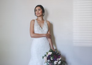 Bride getting ready before the wedding at Regina Coeli in Beverly Hills