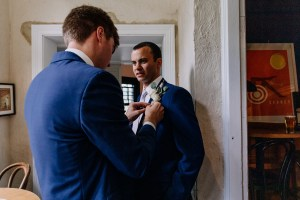 Groom and groomsmen prepare for the big day at the Lord Dudley Hotel