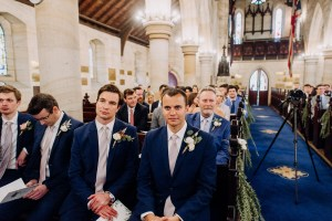Guests celebrate wedding ceremony at St Mark's Church in Darling Point