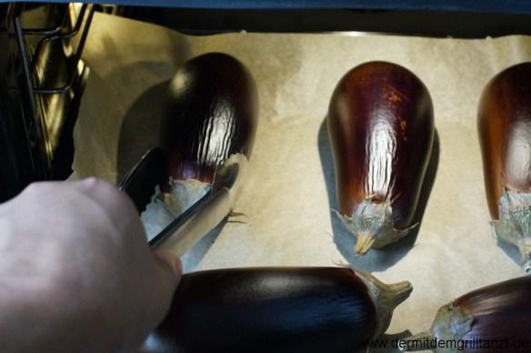 Auberginen nach 15 Minuten im Backofen