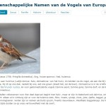 WNVE – Wetenschappelijke Namen van de Vogels van Europa_NTR