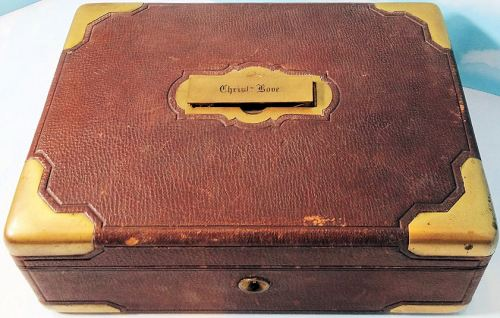 STORAGE BOX - IDENTIFIED - LEATHER AND BRASS - Imperial German Military Antiques Sale